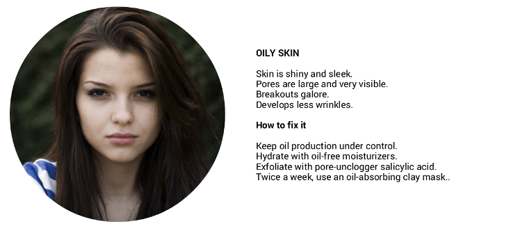 how to determine your skin type: oily skin