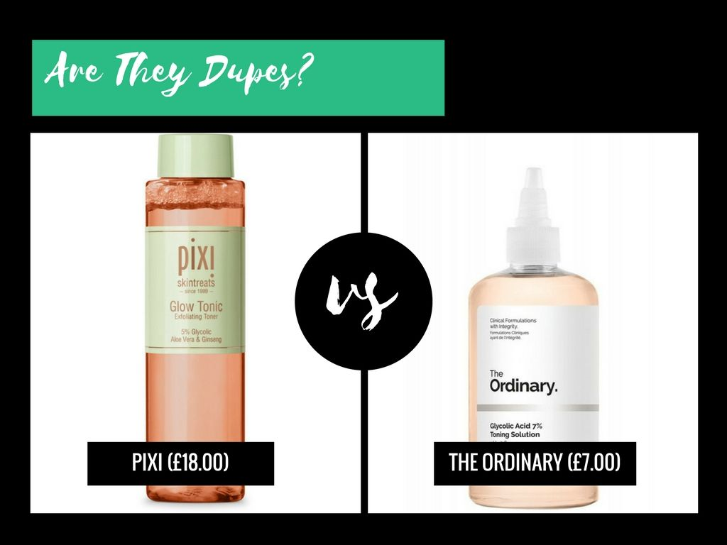 Are They Dupes Pixi Glow Vs The Ordinary Glycolic Acid 7