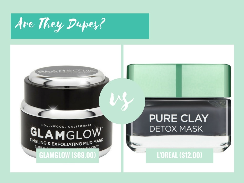 glamglow youthmud tinglexfoliate treatment vs loreal paris pure clay detox mask