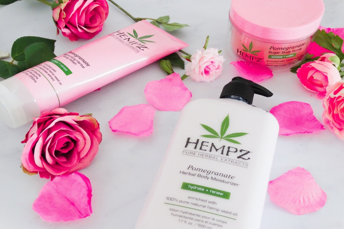 hempz pomegranate herbal body moisturizer sugar scrub and body wash