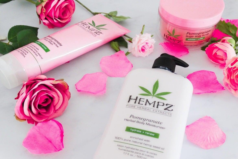 hempz pomegranate herbal body moisturizer sugar scrub and body wash