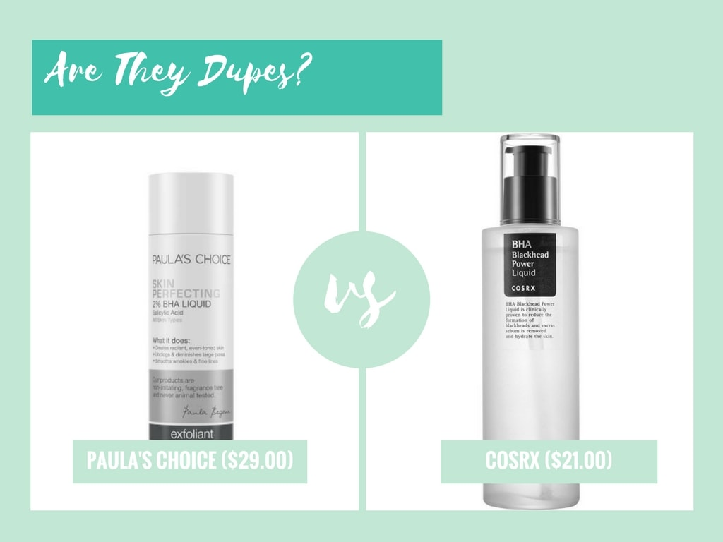 paulas choice skin perfecting 2 bha liquid vs cosrx bha blackhead power liquid