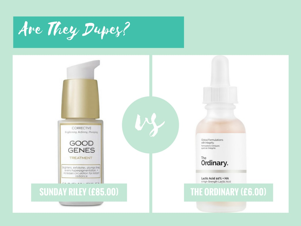 the ordinary lactic acid dupe sunday riley good genes