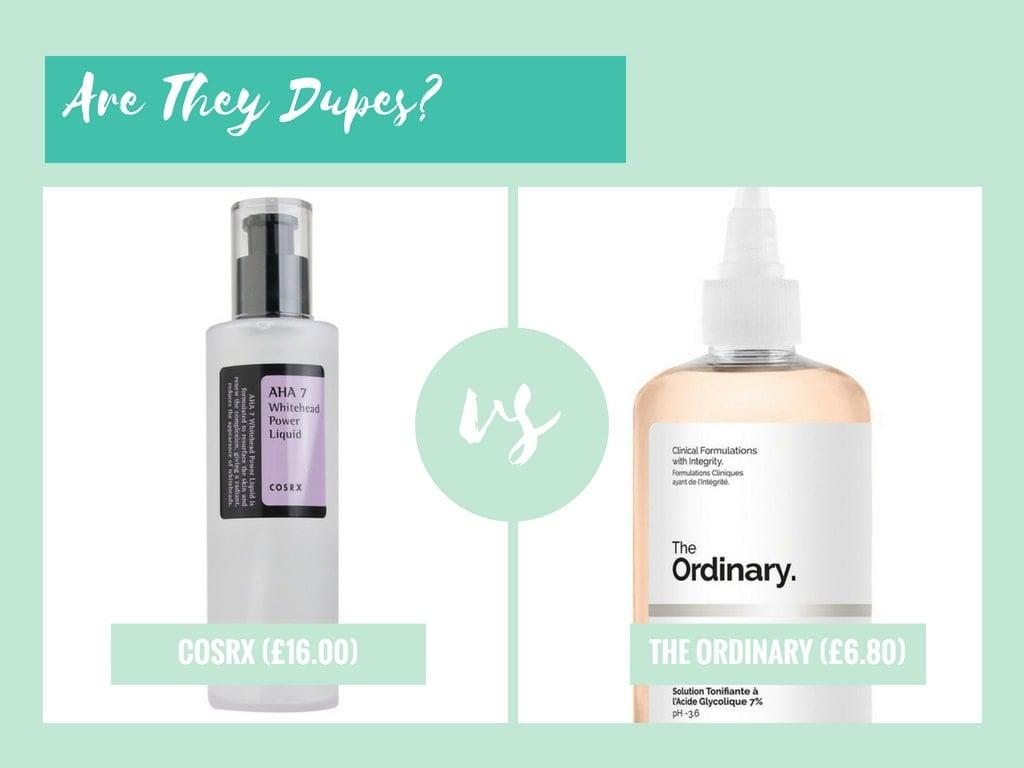 dupe the ordinary glycolic acid toning solution vs cosrx aha 7 whitehead power liquid