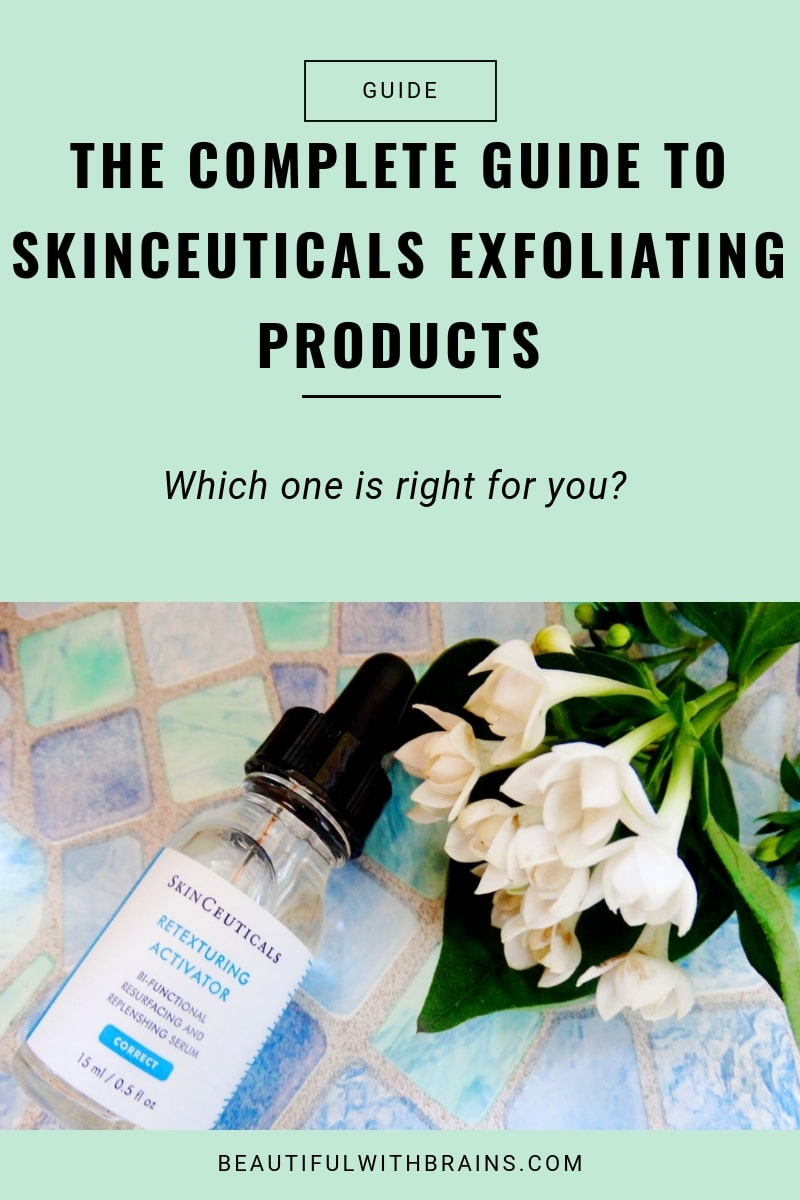 The complete guide to SkinCeuticals exfoliating products:  which one is right for you? #skincare #exfoliation #oilyskin #acne #dryskin #antiagingskincare