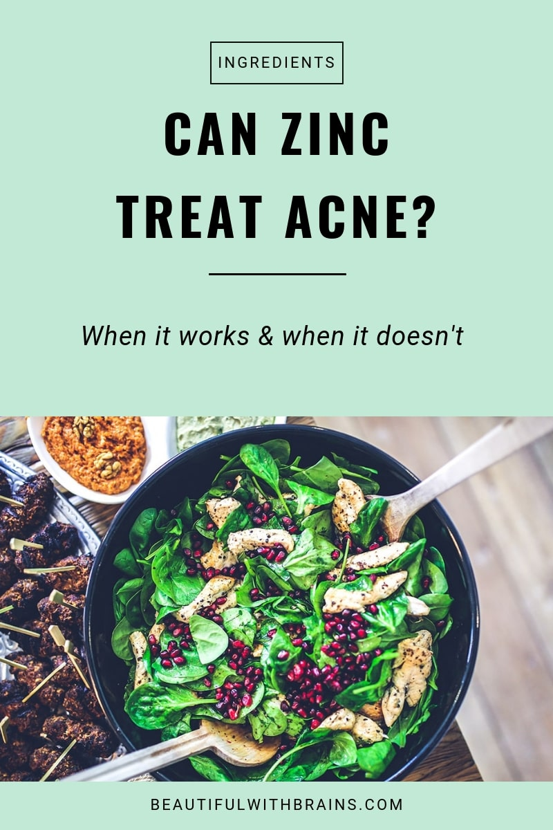 Zinc is often touted as a natural treatment for acne. But can zinc really treat #acne and does it work better in skincare products or supplements? #naturalskincare #oilyskin #supplements
