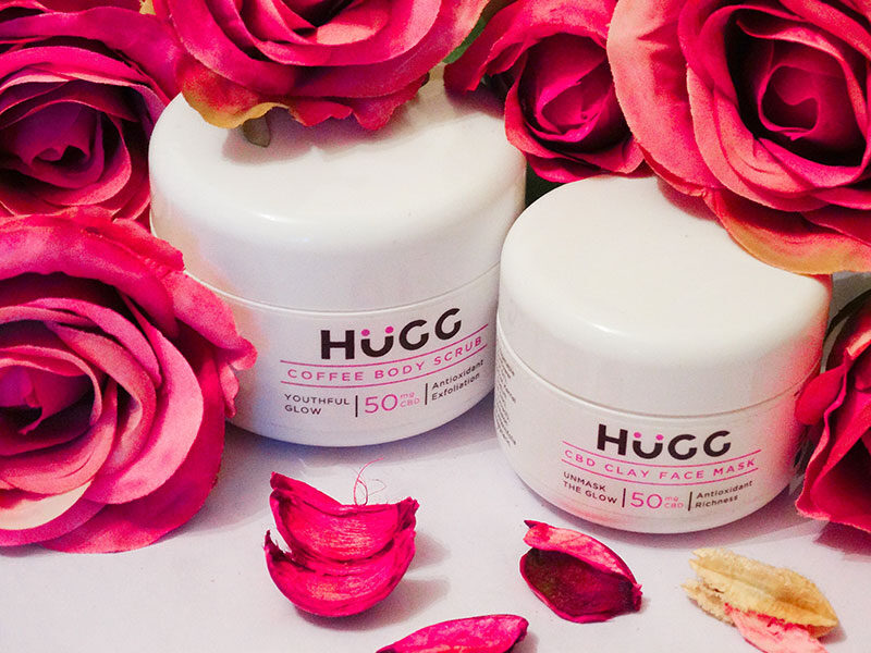 hugg cbd clay face mask and coffee body scrub
